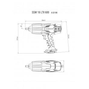 Metabo 18 Volt Μπουλονόκλειδο Μπαταρίας SSW 18 LTX 600