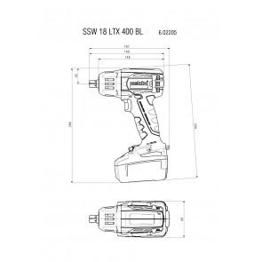 Metabo 18 Volt Μπουλονόκλειδο Μπαταρίας SSW 18 LTX 400 BL