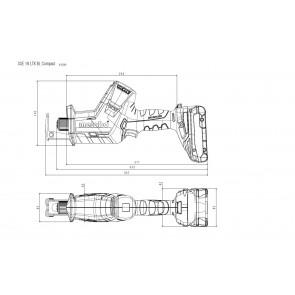 Metabo 18 Volt Σπαθοσέγα Μπαταρίας SSE 18 LTX BL Compact