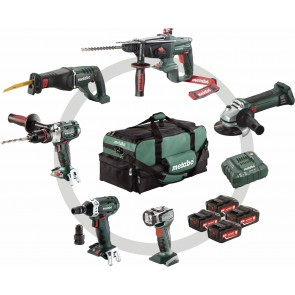 Metabo 18 Volt Combo Set Μπαταρίας 6.1 SB 18 LTX + KHA 18 LTX + W 18 LTX 125 Quick + ASE 18 LTX + SSW 18 LTX 200 + ULA